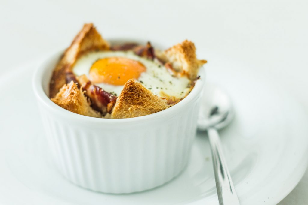 Baked eggs in toast cups by Martha Stewart